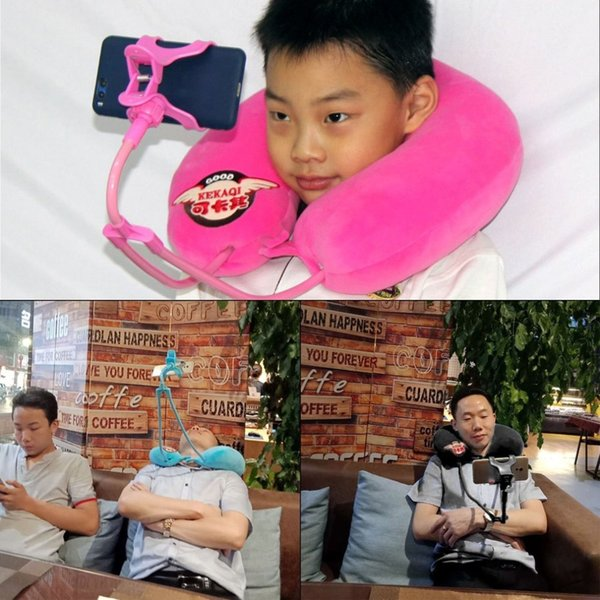 U Shaped Travel Pillow Neck Support with Mobile Phone Barcket Health Care for Relieve Fatigue for Office Home Car
