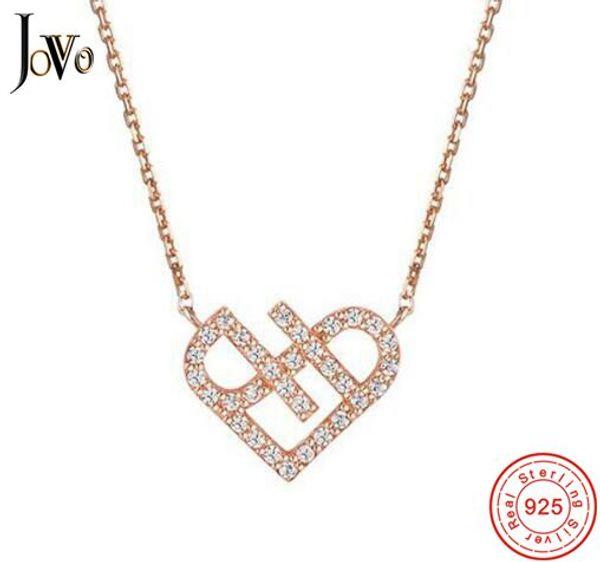 JOVO Fashion trendy women necklace heart Pendants sterling s925 silver small zircon Fine Jewelry Cross chain female gift