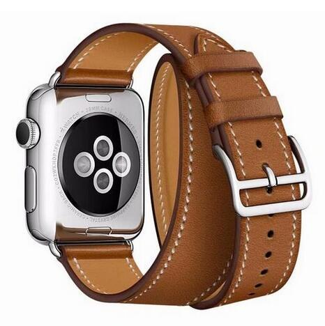 Pulseira de couro para iwatch para a Apple Watch banda Double Tour extra longo 38 mm 42 mm 40 mm 44 mm para iwatch série 4 2 3 1 cinto