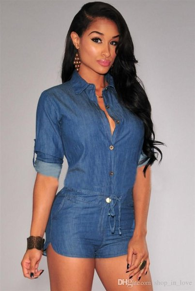 Леди женщины повседневная мода середины рукава джинсовые с длинным рукавом Sexy Blue Denim комбинезон Комбинезон шорты одежда 2574