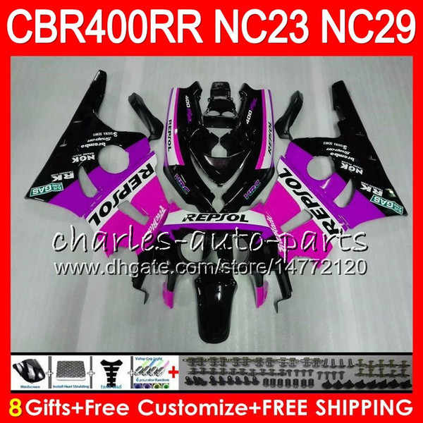 Kit For HONDA CBR400 RR NC23 CBR400RR 94 95 96 97 98 99 Repsol Pink 80HM.96 CBR 400 RR NC29 CBR 400RR 1994 1995 1996 1997 1998 1999 Fairing