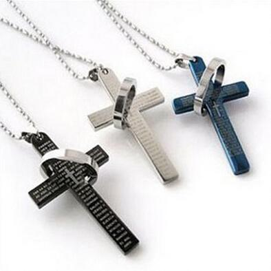 Lord's Prayer crucifix cross Chain Vintage Titanium Steel Bible Necklace Pendants Women Men Jesus Jewelry Factory Price Sale 3 Pcs/lot More