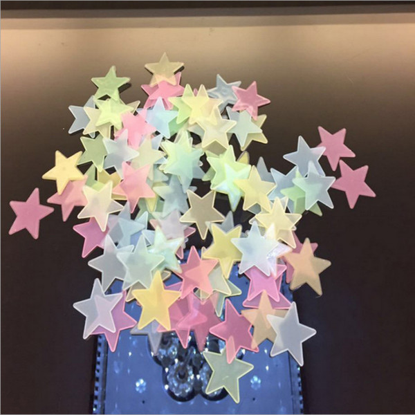 Wholesale Kids Room stickers 3D Stars Luminous Fluorescent Wall Stickers With Adhesive Baby Kids Rooms Decoration Gift