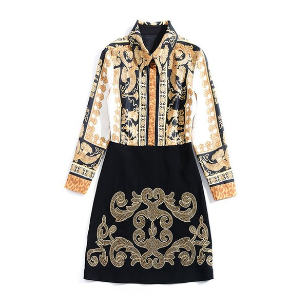 European and American women's wear autumn 2018 The new Long sleeve Restoring ancient ways is printed Embroidery sequins dress