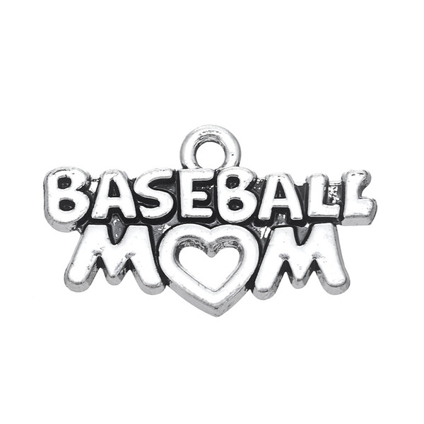 30PCS Fashion Latest Style DIY Jewelry Lettering BASEBALL MOM Metal Pendant Jewelry Charms Dangle Accessories