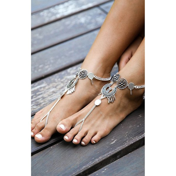 Women's European and American Jewelry Punk Retro Style Metal Coin Multi-layer Tassel Chain Anklet