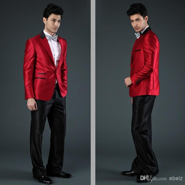 king Fashion Men Suits Best selling new wedding dress 2018 men suit wedding red one button two pieces (Jacket+Pants)