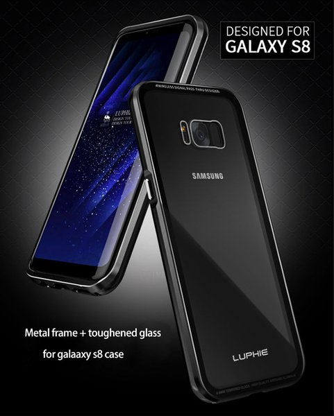 For Samsung Galaxy S8 Case Bumper Aluminum Metal Frame+9H Tempered Glass Back Cover Cases For Galaxy S8 Plus Case Luxury