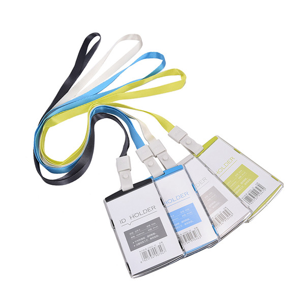 1PC Plastic Passport Cover With Colorful Nack Lanyard Name Badge Card Case Business Card Holder Bag Company Office Supplies