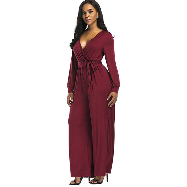 Clocolor women jumpsuits rompers overalls trousers plus size pants sexy v neck see through tops long sleeve slim lace jumpsuits