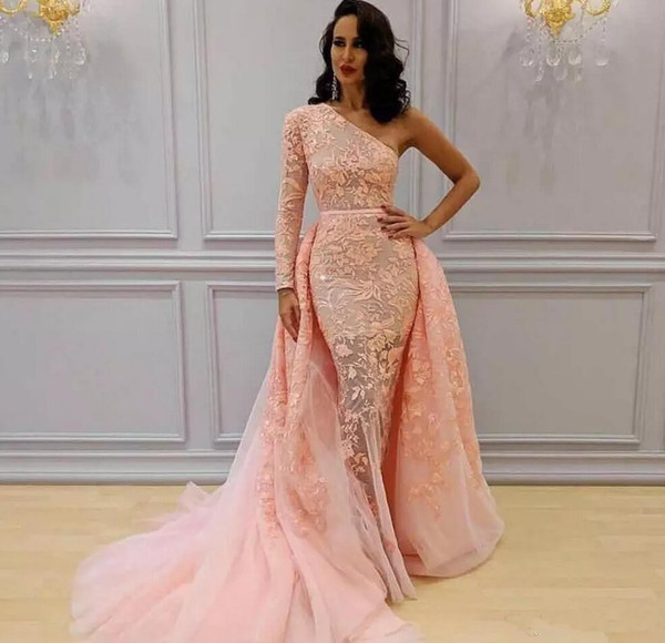 2018 Mermaid Blush Pink Evening Dresses One Shoulder Illusion Long Sleeves Lace Appliques Tulle Detachable Train Celebrity Prom Party Gowns
