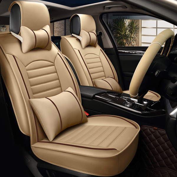Pu Leather Car Seat Cover Four Seasons Universal Luxury Automobiles Seat Covers Black Blue Beige Brown Car Interior Accessories Lumbar Seat Cushion