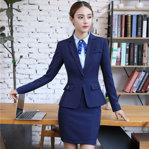 Novelty Blue Professional Autumn Winter Uniform Styles Blazer Suits With Jackets And Skirt For Business Women Blazers Plus Size