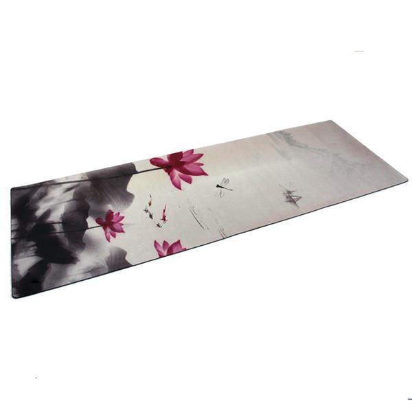 Nuevo 183 cm * 61 cm * 3.5 mm Caucho natural Absorber el sudor Ambiental Cómodo Tela de gamuza antideslizante Perder ejercicio Estera de yoga