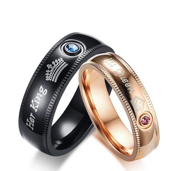 Beichong Edelstahl ihr König seine Königin Paar Ringe Valentinstag Ornamente Geschenk für Paar Krone Kristall Ring Hochzeitsschmuck