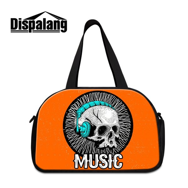 Dispalang Cool day bags for travel Ladies Skull Pattern Large Shoulder Duffle bags for Clothes Mens Big journey with Pocket