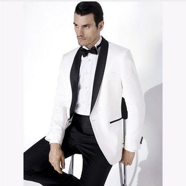2018 White Wedding Suits For Men Shawl Black Collar 2 Pieces Slim Fit Groomsmen Suit Mens Tuxedos ( Jacket+Pants)