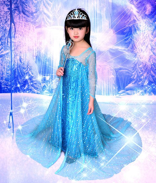 Beautiful Costume Girl Party Wear Western Let It Go Long Glitter Frozen Cosplay Performance Wear Children's Cosplay Dresses