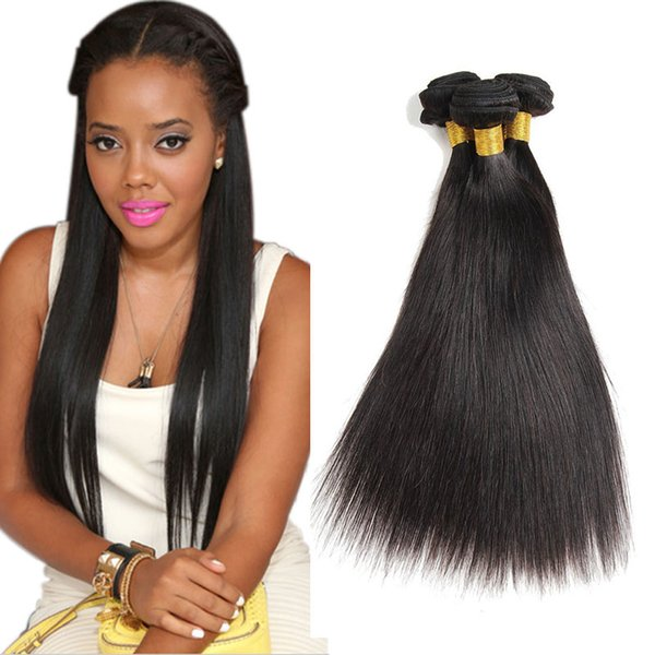 Peruvian Straight Hair Bundles 8A Grade Unprocessed Virgin Human Hair Weaves Double Weft Extensions Natural Color 8-30 inch 3pcs Or 4pcs