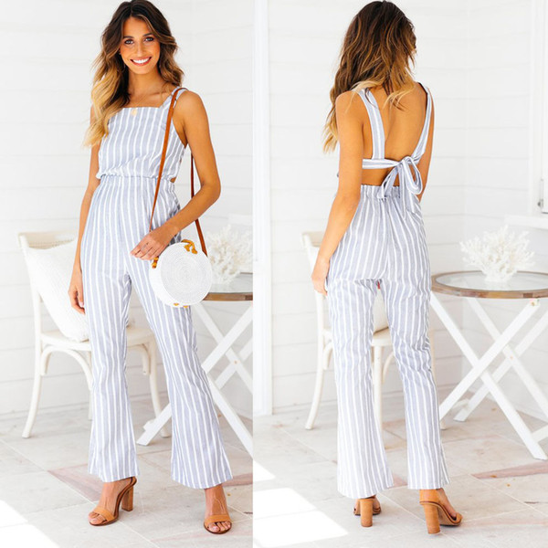 Fashion Women Jumpsuit Casual Loose Striped Pants Overalls Straps Jumpsuit Romper Trousers New Women Bodysuits