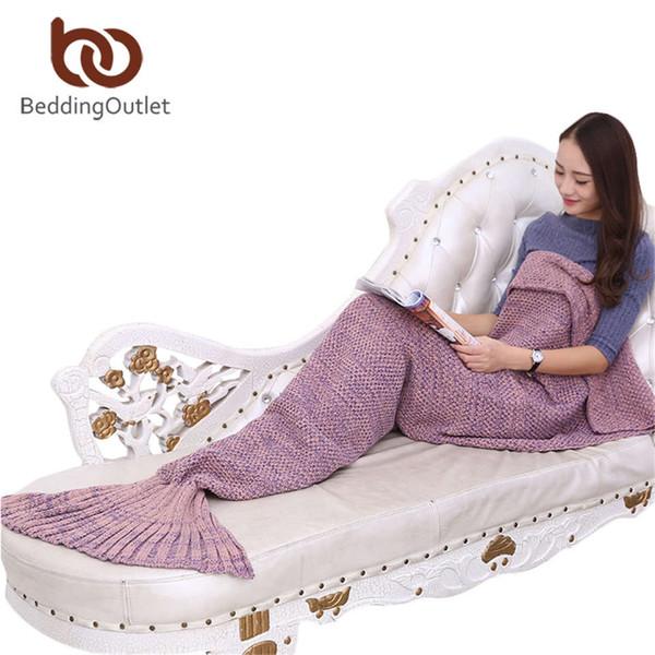 BeddingOutlet Mermaid Throw Coperta Handmade Mermaid Tail Coperta per Bambino Adulto Multi Colors 3 Size Soft Crochet