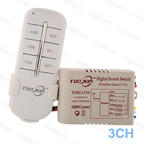 Anahtarı Alıcı 3CH Yönlü 220 V LED Tavan Paneli Lambaları Için Ampuller Dijital RF Uzaktan Kumanda Kablosuz Verici Plastik DHL