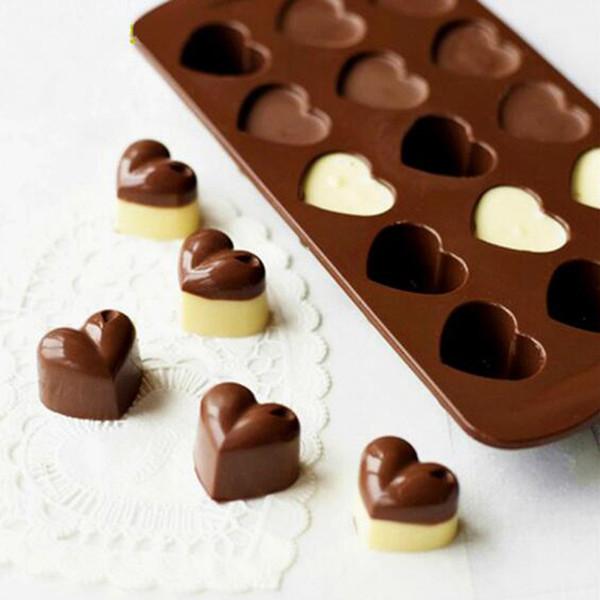 2018 Stampi per cioccolato antiaderente in silicone 15 cavità Amore a forma di cuore Stampi per gelatina Stampo per dolci Utensili per pasticceria