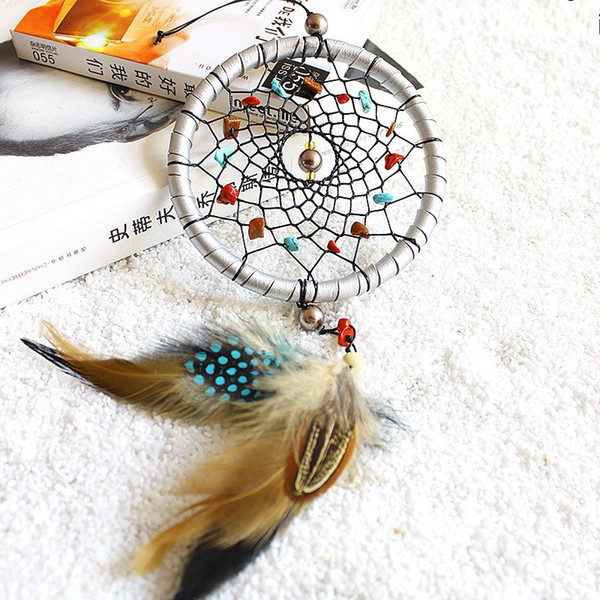 Feathers Core Bead Dreamcatcher Wall Hanging fashion Natural Stone Dream Catcher Pendant Home Decor 8 5xr C