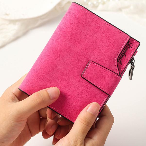 Designer Female hasp Short wallets matte Leather women wallets High Quality lady designer coin Card Holder purse new
