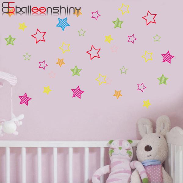 BalleenShiny PVC Twinkle Star Plane Etiqueta de La Pared Bebé Niño Dormitorio Decoración Estrella de Colores Etiqueta Engomada Extraíble Habitación de Guardería