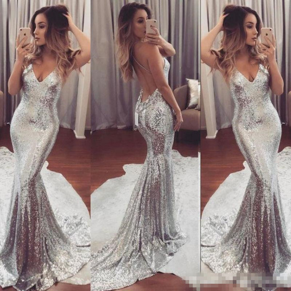 Shining Silver Sequined Prom Dresses Sexy Backless Mermaid Evening Gowns 2019 Sweep Train Women Cocktail Party Dress Cheap