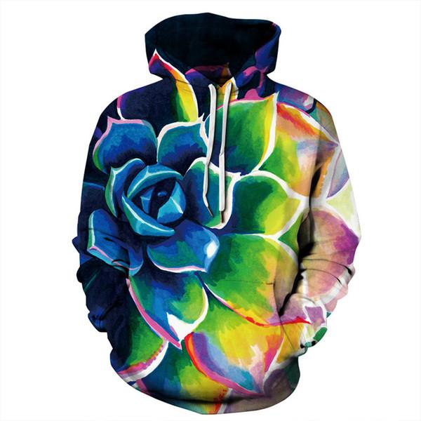 3D Colorful Floral Print Hoodies Men Women 2018 Winter New Long Sleeve Casual Hoodie Sweatshirt Men Harajuku Hip Hop Hoody Man