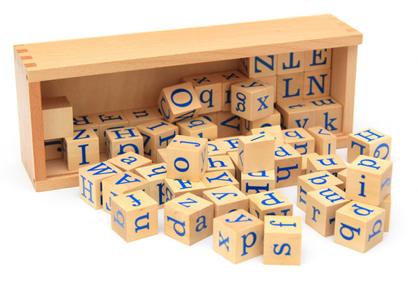 Learning Wooden toys Educational box cube Beech Puzzle Block preschool Game Building Alphabet 60pcs letter square 1 box