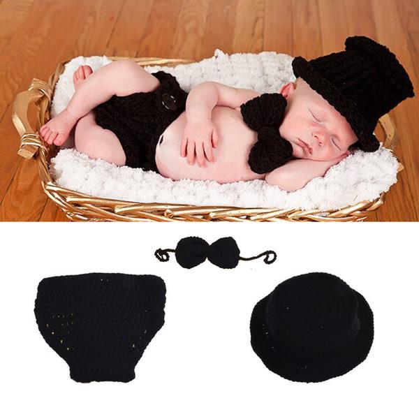 Black Color Baby Boy Crochet HAT Bowtie&Diaper Set Crochet BABY Boy Gentleman Costume Newborn Coming Home Outfit