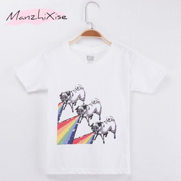 2018 New Listing Children T-shirt Pug Puppy Dog Cotton Child Shirt Girl Short T Shirts Kids Vest Baby Clothing Boy Clothes Free Shipping