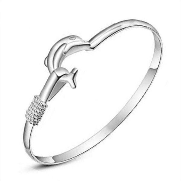 925 Sterling Silver Dolphin Open Cuff Bangle Bracelet for Men Women Puck Classic Retro Style Hip Hop Party Jewelry AY301