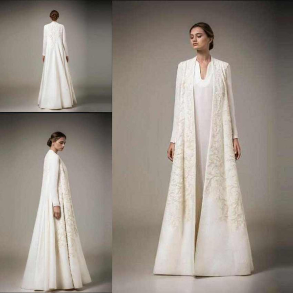 Elegant Mother Of The Bride Dresses With Jacket Ambroidery Long Sleeves Evening Dresses Long Satin Saudi Arabia Prom Dresses