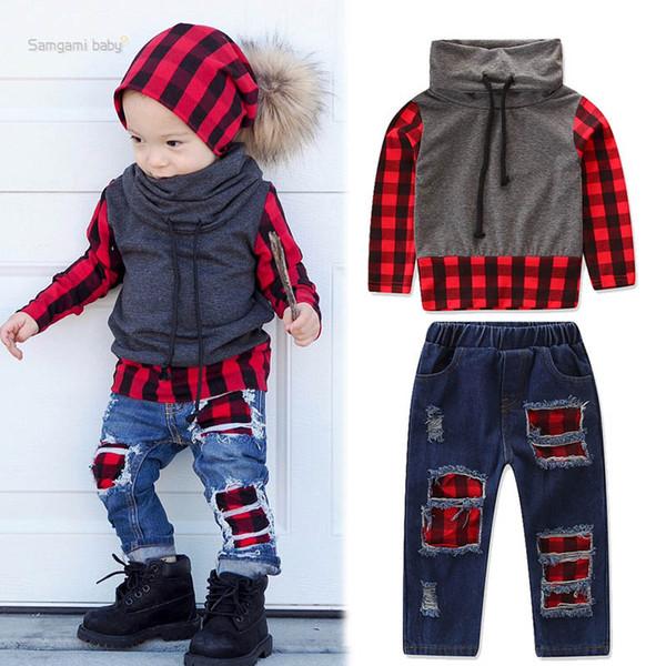 Bébé Garçon Jeans Costumes Enfants Col Haut Rouge À Carreaux Patchwork Vêtements Concepteur Coudre Réparer Style Coréen Tenues PUllover À Manches Longues 1-6T