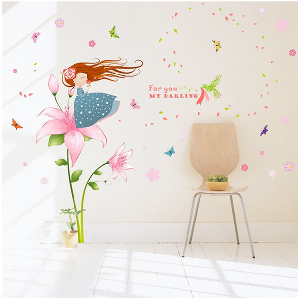 Beautiful pink flower butterfly little girl blowing petals cartoon wall stickers kids room girl bedroom living room decor decals