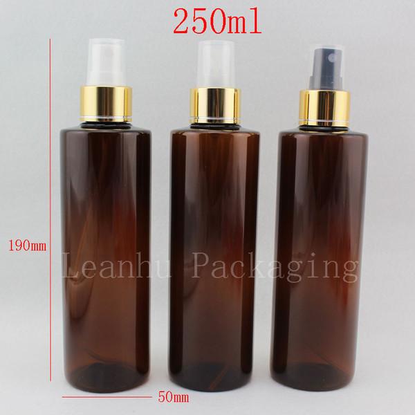 Flacone cosmetico spray vuoto marrone da 250 ml x 20 PET, bomboletta spray da imballaggio rotondo vuoto da 250 cc bottiglie di plastica cura personale