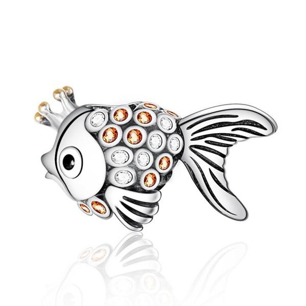 Klarer Kristall Engel Fisch Charms Perlen 925 Sterling-Silber-Schmuck Goldener Fisch Tier Perle DIY Marke Logo Armbänder machen Zubehör HB704