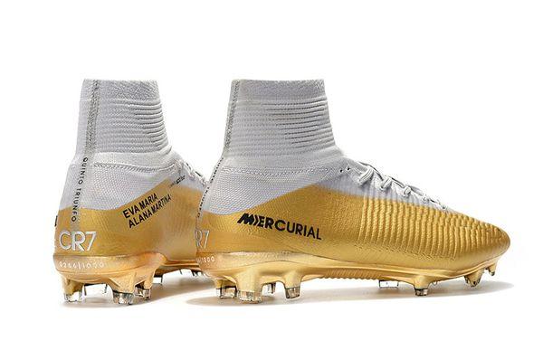 Football Boots 100% Original White Gold Kids Soccer Shoes Mercurial Superfly CR7 FG C Ronaldo Children Soccer Cleats