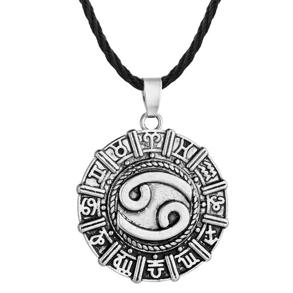 5pcs/lot Karkat Zodiac Cancer Constellation Necklace Birthday Jewelry Astrology Zodiac Horoscope Necklace Star Sign Viking Runes