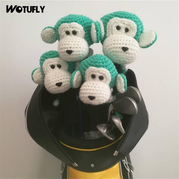 WOTUFLY Hand Made Golf Clubs Headcovers Handcraft Lovely Monkey Golf Driver Woods Hybrid Head Covers Colorful Toys For Man Women
