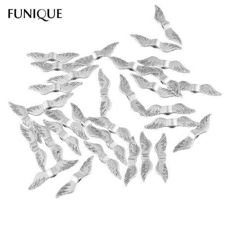 FUNIQUE Metal Beads 100PCs Antique Silver Angel Wings Charm Beads 1.5mm Hole Size Spacer Beads For Jewelry Making 23x5mm