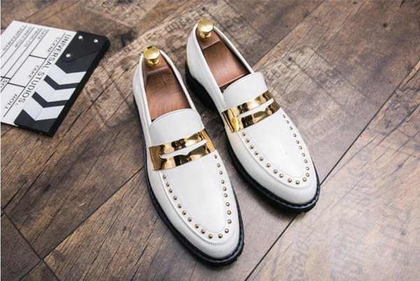 High quality shoes red black men party nightclub mens dress loafers cow leather rivets shoes metal toe flats platform 1H8