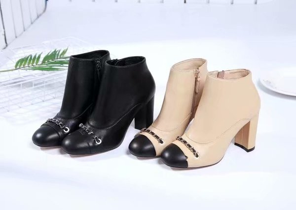 Classic Beige Black Boots with original box High chunky heels Genuine leather Ladies Party Boots