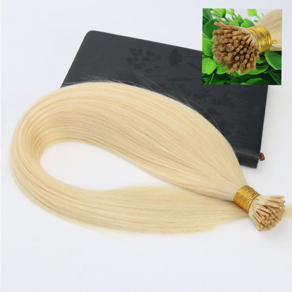 I-tip Brazilian Human Hair Extensions Blonde 14inch-26inch 100Strands 100gram 60# Platinum Blonde Straight Human Hair Extensions