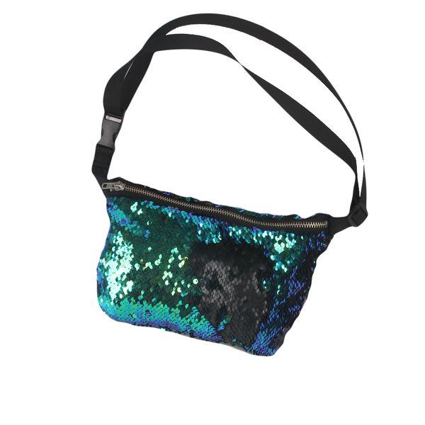 2017 New Arrivals Women Waist Bag High Quality Double Color Sequins Money Phone Travel Handy Fanny Multi-function Waist Pack