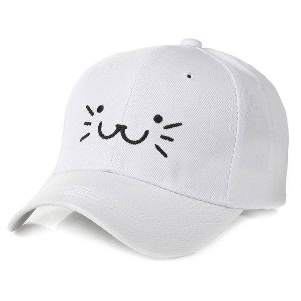 Summer Autumn Children's Cartoon Baseball Cap with Embroidery Cat Pattern 3-8 Years Boys Girls Brim Hats Black Pink White